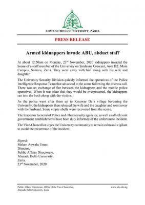 bandits kidnap ABU lecturer