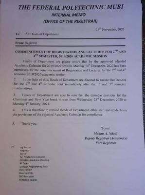 federal polytechnic mubi registration notice