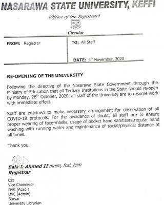 nsuk staff resumption date