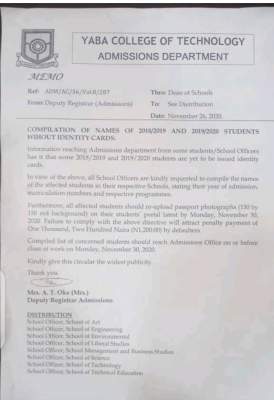 yabatech notice to students without id cards