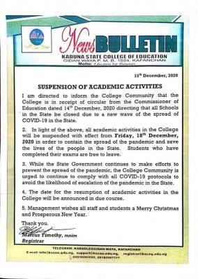 coe gidan-waya suspends lectures