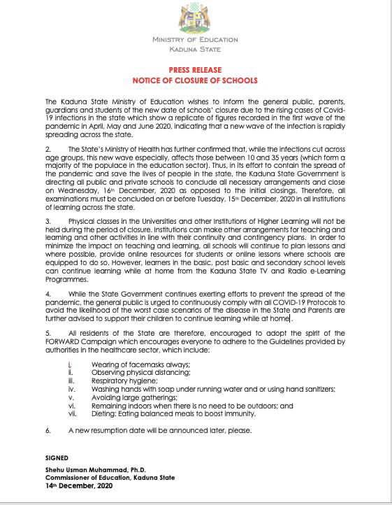 kaduna schools resumption