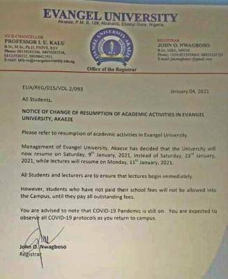 evangel university resumption date