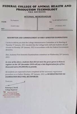 FCAHPTIB resumption notice
