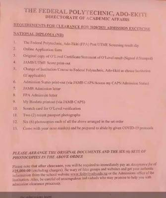 fed poly ado-ekiti clearance requirement