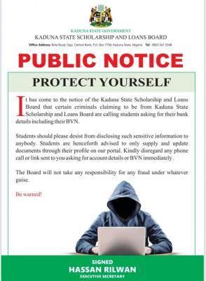 kaduna state scholarship board notice